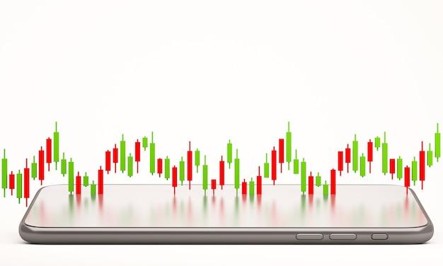 Свеча диаграмма диаграммы онлайн-торговли на фондовом рынке с мобильным телефоном, 3d визуализация фона иллюстрации