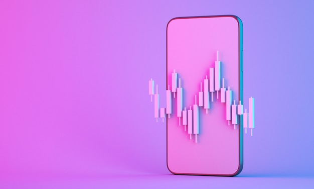 携帯電話とのオンライン株式市場取引のローソク足グラフチャート、3dレンダリングイラストの背景