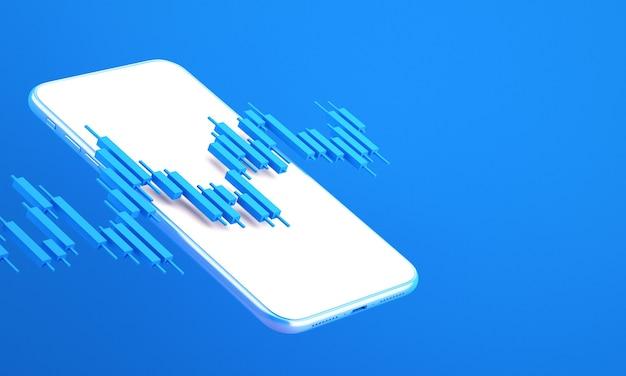 휴대 전화, 3d 렌더링 그림 배경으로 거래하는 온라인 주식 시장의 캔들 스틱 그래프 차트