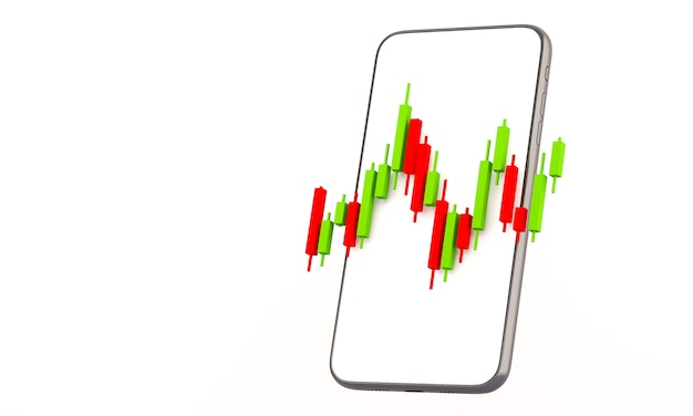 Candle stick graph chart of online stock market trading with mobile phone ,3d render illustration background