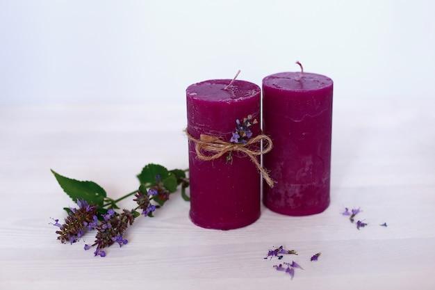 Candle on white background. spa massage aromatherapy body care