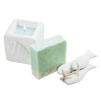 Candle, white and turquoise handmade soap