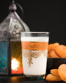 Candle with snacks beside on ramadan day