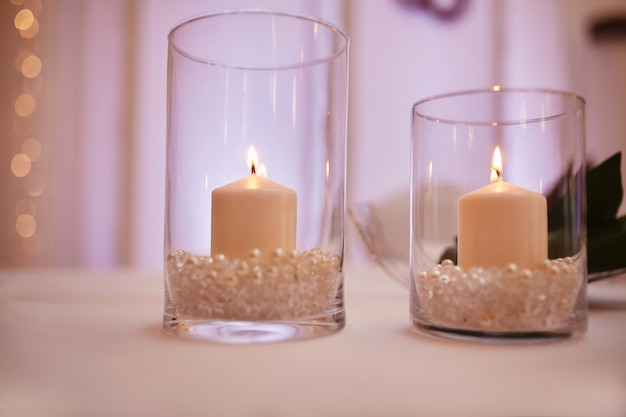 Candles on a glass candlestick