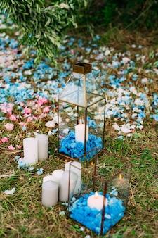 Свечи в стеклянных светильниках свадебные украшения свадьба