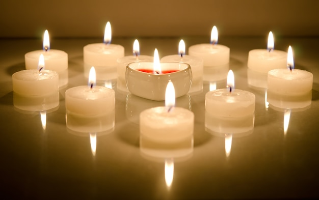 Candles in the shape of heart