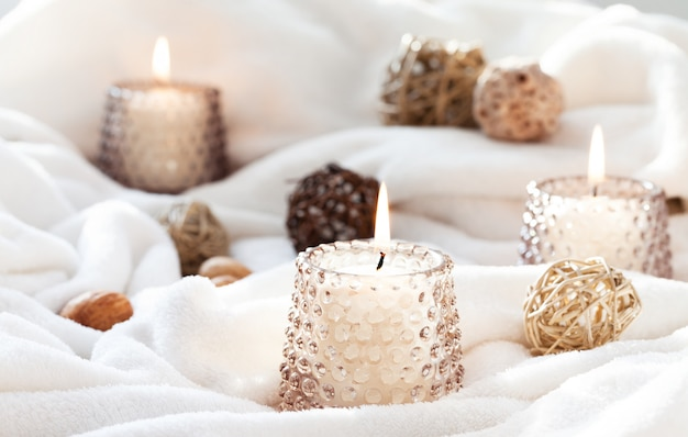 Candles on white fabric