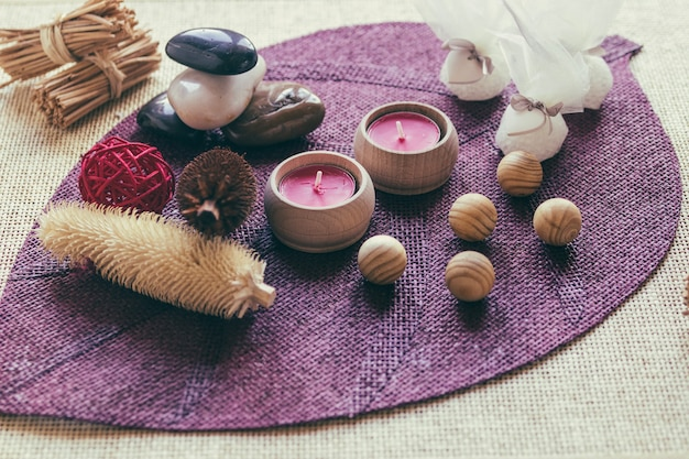 Candles and wooden balls