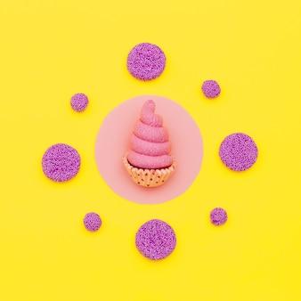 キャンディーとケーキ。最小限のフラットレイアート。甘いファッションムード