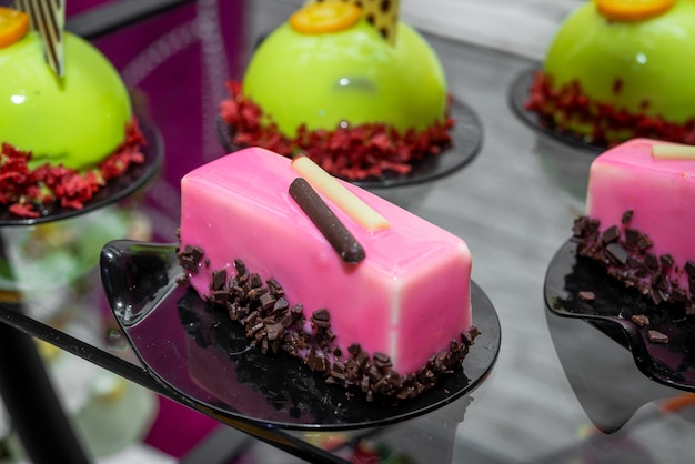 Candy bar, delicious fruit desserts catering in the restaurant