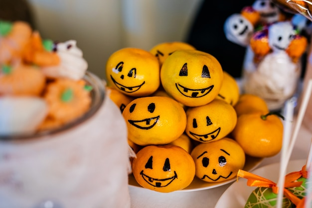 Candy bar with sweets for the celebration of halloween