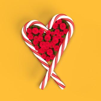 黄色の背景にバラとキャンディケインの心
