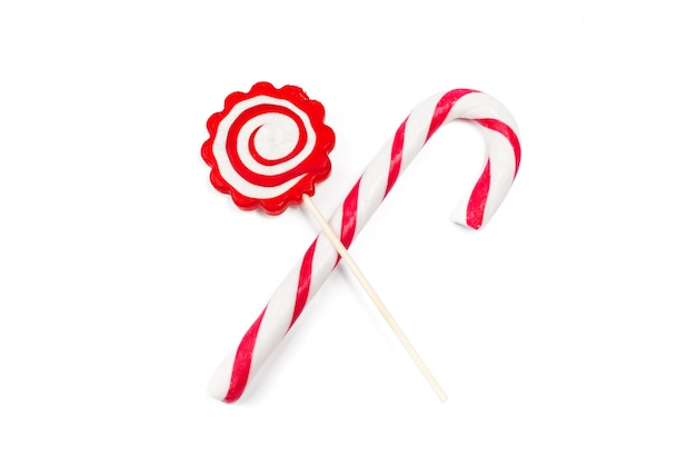 Candy cane and lollipop isolated