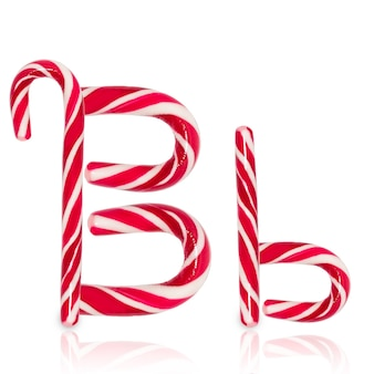 Candy cane in shape of letter b isolated