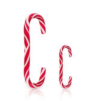 Candy cane in shape of letter c isolated