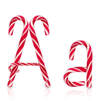 Candy cane in shape of letter a isolated