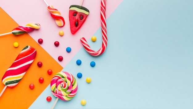 Candy cane and sweets with copy space