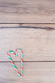 Candy canes placed in form of heart