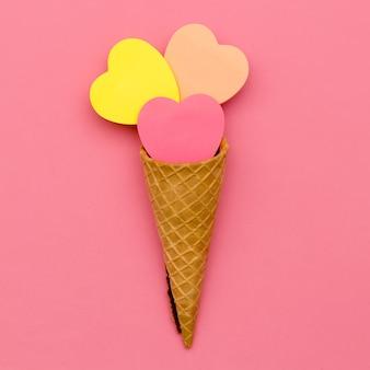 キャンディアイスクリーム。甘いファッションアート。 flatlayデザイン