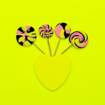 Candy lolipop art. sweet mood. flatlay design