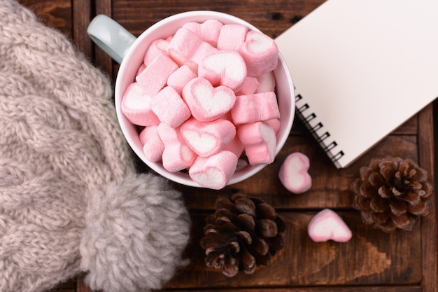 Candy marshmallows on table