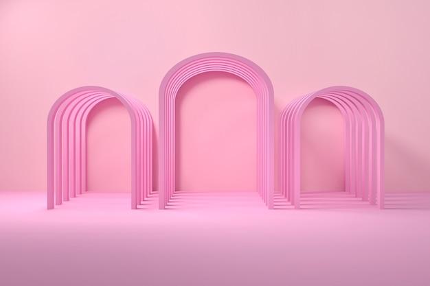 3 개의 아치와 캔디 핑크 로맨틱 건축 구성. 3d 그림.