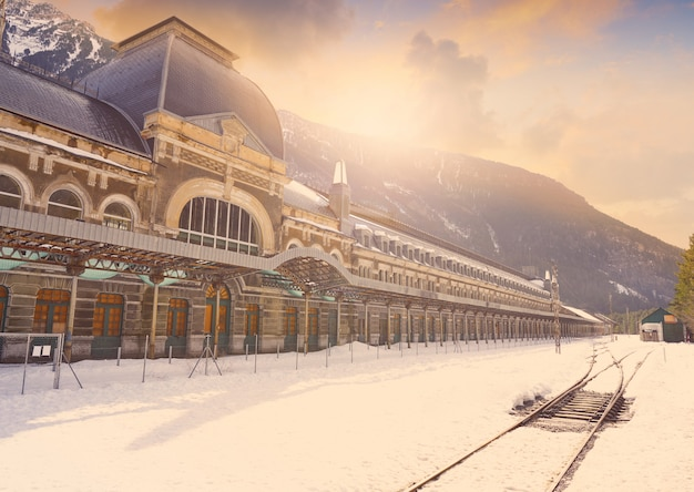 Canfranc train station in huesca on pyrenees spain