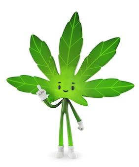 大麻キャラクターデザイン、3 dレンダリング図。
