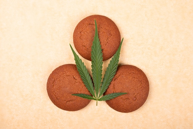 Cannabis cookie, marijuana sweets close up.