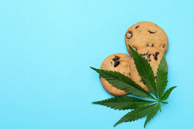 Cannabis cookies and leaf on blue
