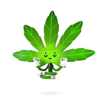 瞑想ポーズの大麻