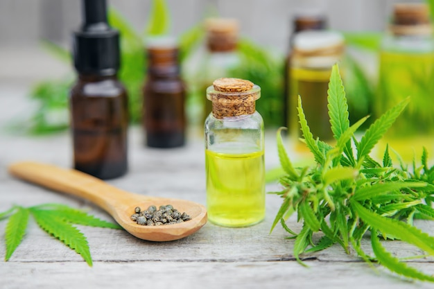 Cannabis oil in a small bottle