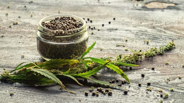 大麻植物と木製のテーブルの上の瓶の種子