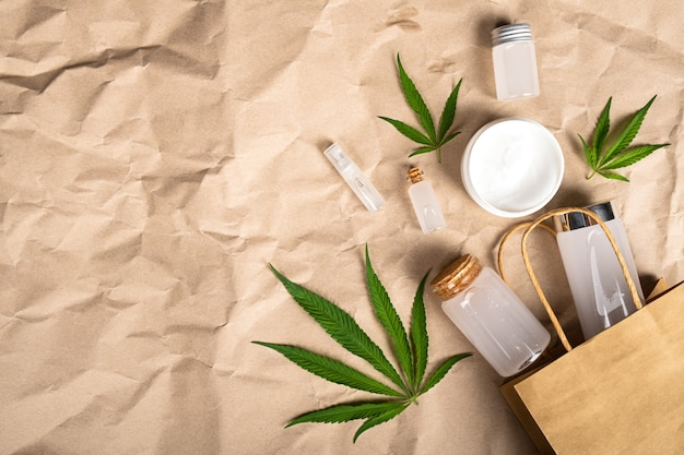 Cannabis product for health, cosmetic set with skin care.