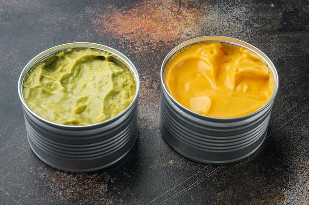 Canned cheese and guacamole  sauce in can
