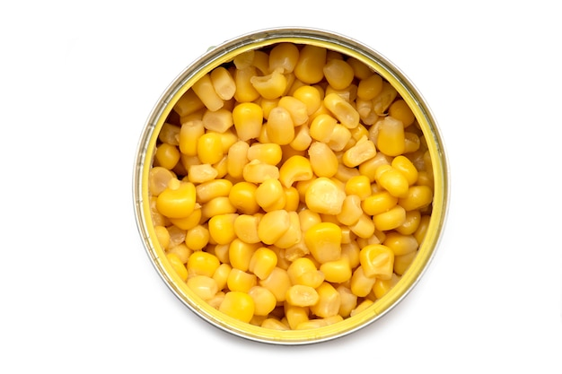 Canned corn in aluminum can isolated on white background