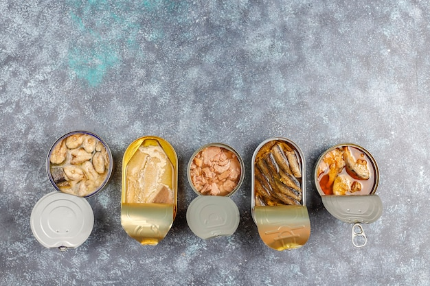 Canned fish in tin cans:salmon, tuna, mackerel and sprats.