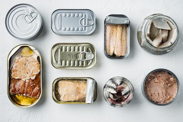 Рыбные консервы, набор лучших американских консервов, на белом, плоская планировка, вид сверху