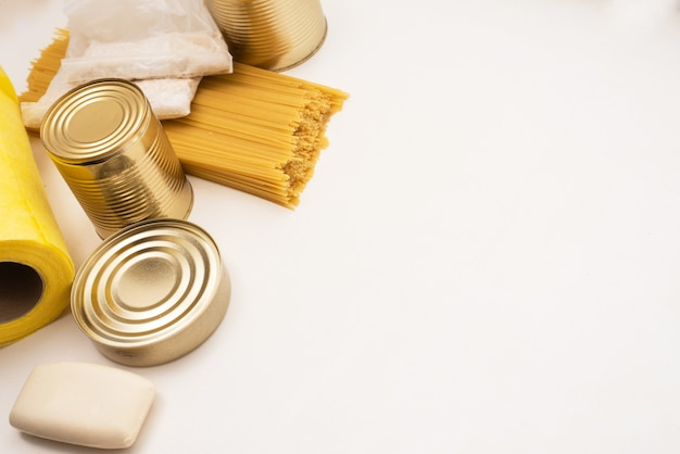 Canned food, pasta and soap