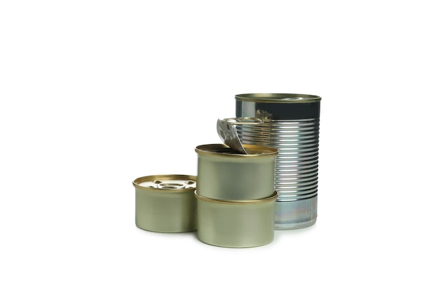 Canned food for pets isolated on white