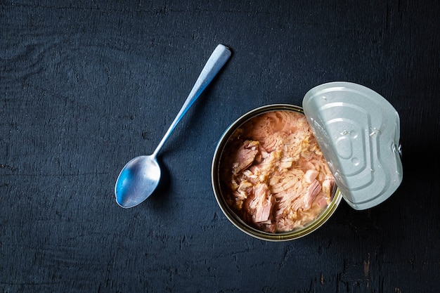 Canned food and tuna in cans