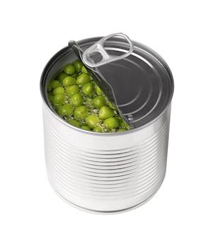金属缶の缶詰のグリーンピース、孤立したピクルスのグリーンピース。
