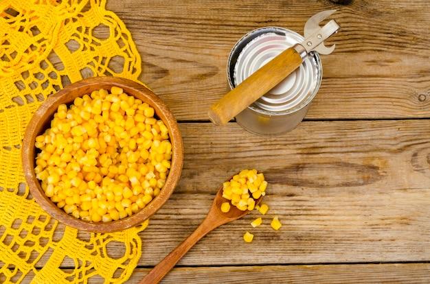 Canned ripe yellow sweet corn in jar.