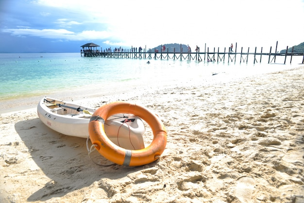 Canoe on the beach sand
