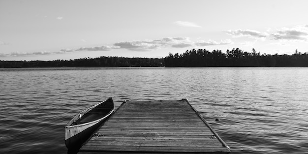 Canoe at the dock, lake of the woods, ontario, canada