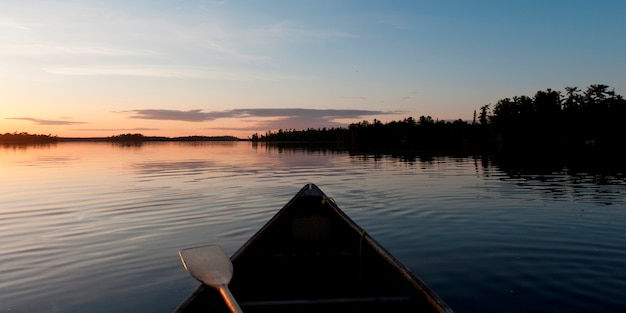 Canoe in a lake, lake of the woods, ontario, canada