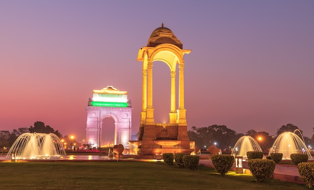 Canopy and the india gate in new delhi, india, night view.