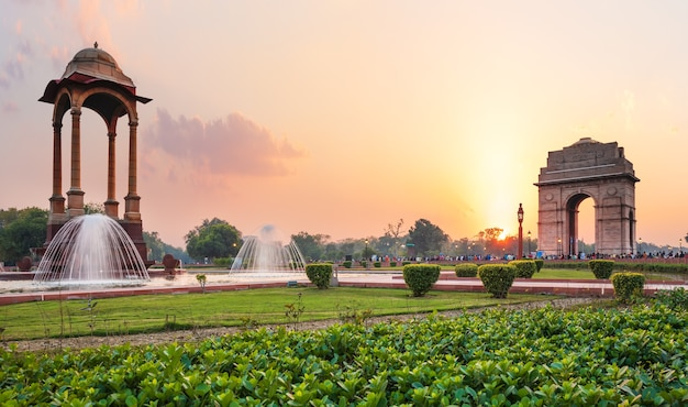 The canopy and the india gate at sunset in new delhi, view from the national war memorial.