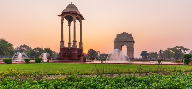 The canopy and india gate, sunset panorama, new dehli.