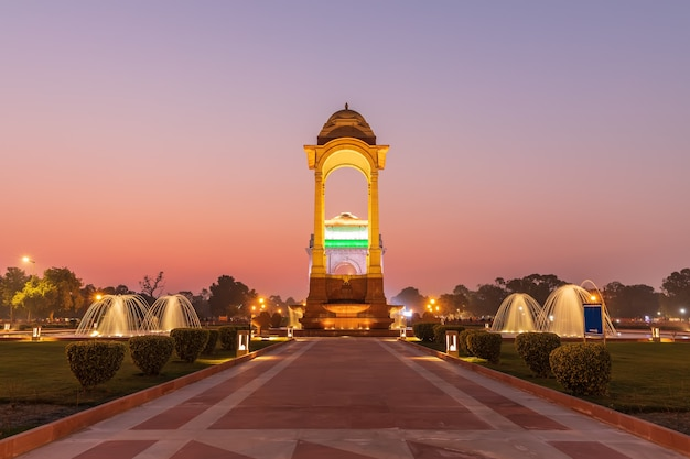 The canopy and the india gate in twilight, view from the national war memorial, new delhi, india.